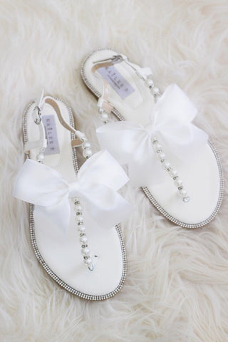 Girls - OFF WHITE T-Strap Pearl Flat Sandals with Oversized Satin Bow