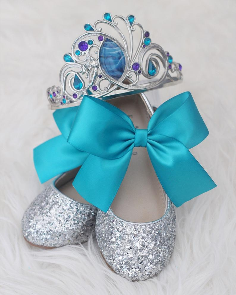 PRINCESS ARIEL INSPIRED - Silver Rock Glitter Mary Jane with Satin Bow