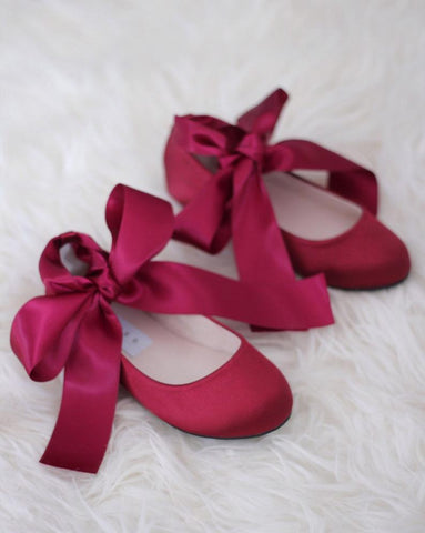 BURGUNDY Satin Flats with Satin Ankle Tie