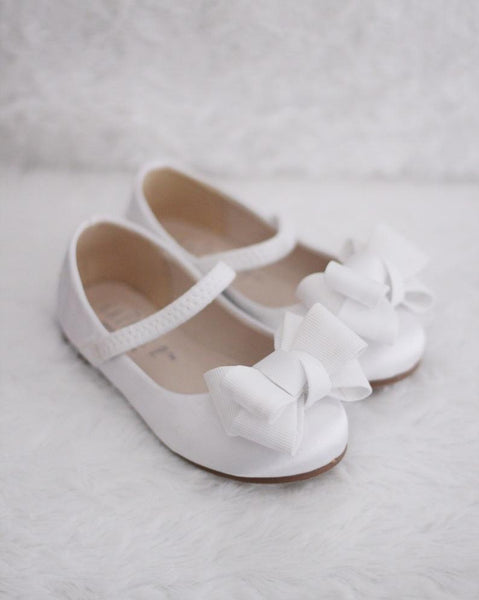 WHITE Satin Maryjane Flats with Grosgrain Bow