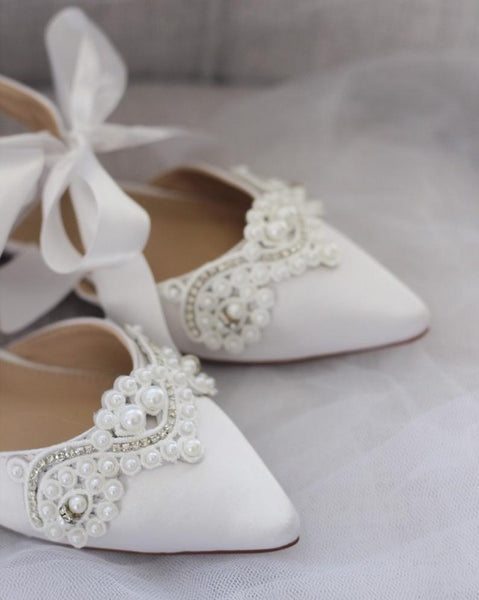 White  Satin Pointy Toe Flats with SMALL PEARLS APPLIQUE and Satin Tie