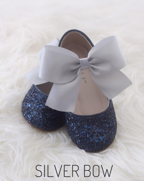 NAVY Rock Glitter Maryjane Flats With Satin Bow
