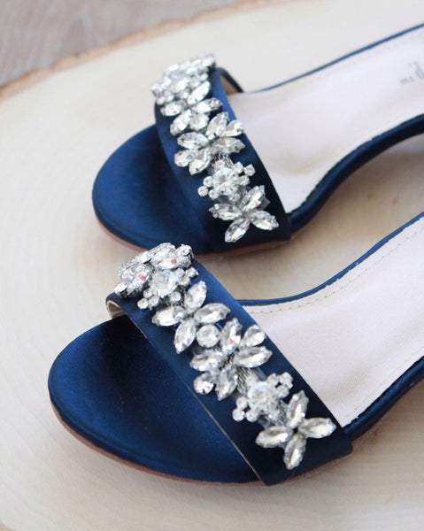 girls navy sandals with rhinestones