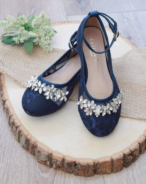 NAVY New Lace Ballet Flats with FLORAL RHINESTONES and Ankle Strap