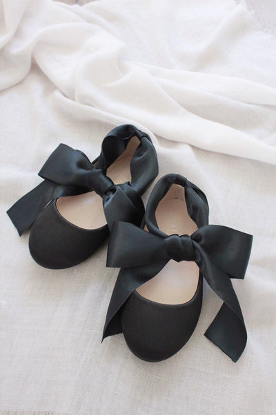 BLACK Satin Flats with Satin Ankle Tie
