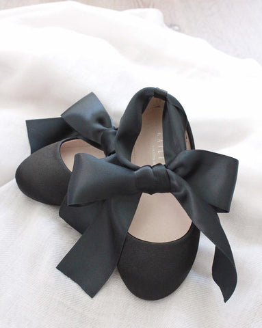 BLACK Satin Flats with Satin Ankle Strap