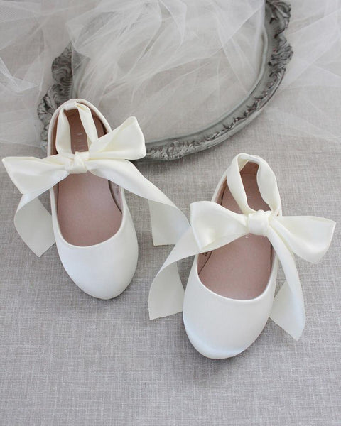 IVORY Satin Flats with Satin Ankle Tie