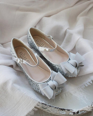 SILVER Rock Glitter Maryjane Heels with Grosgrain Bow