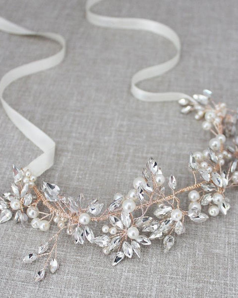 Elegant Pearl and Crystal Hairpiece