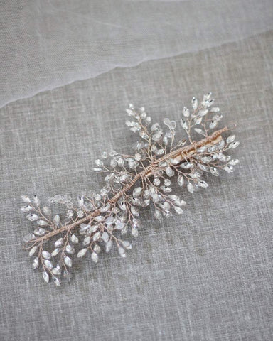 Delicate Vine Sprays of Crystal and Rhinestones Hair Clip