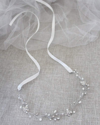 Delicate Silver Crystals with Leaves Rhinestones