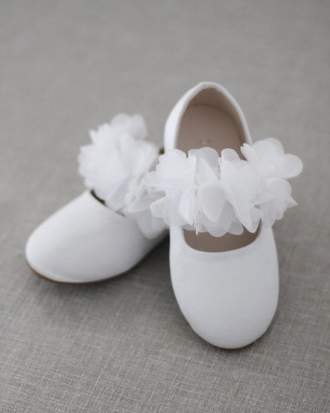 WHITE Satin Maryjane Flats with Chiffon Flowers