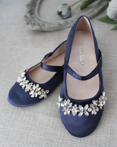 NAVY Satin Mary Jane Flats With Embellished Rhinestones