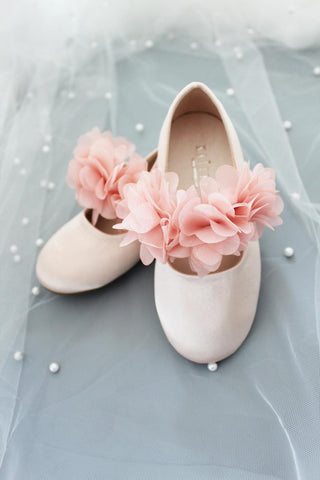 BLUSH PINK Satin Maryjane Flats with Chiffon Flowers