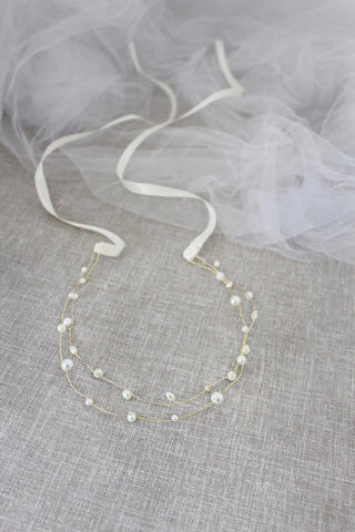 Double Stranded Pearl Hair Piece