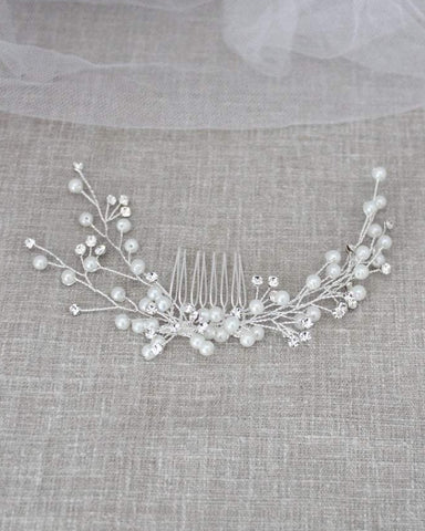 Pearl Hair Comb with Rhinestones in Silver