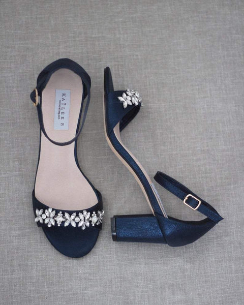 NAVY Shimmer Low Block Heel Sandals with Embellished FLORAL RHINESTONES