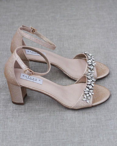 GOLD Shimmer Low Block Heel Sandals with Embellished Rhinestones
