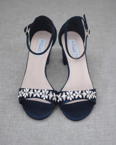 NAVY Shimmer Low Block Heel Sandals with Embellished Rhinestones