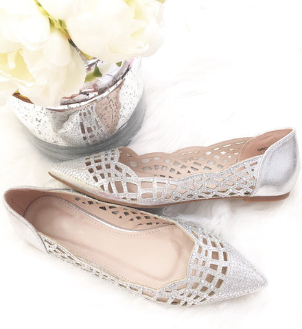 Women SILVER Pointy Toe Flats with Rhinestones Embellishments ,Women Shoes- Kailee P