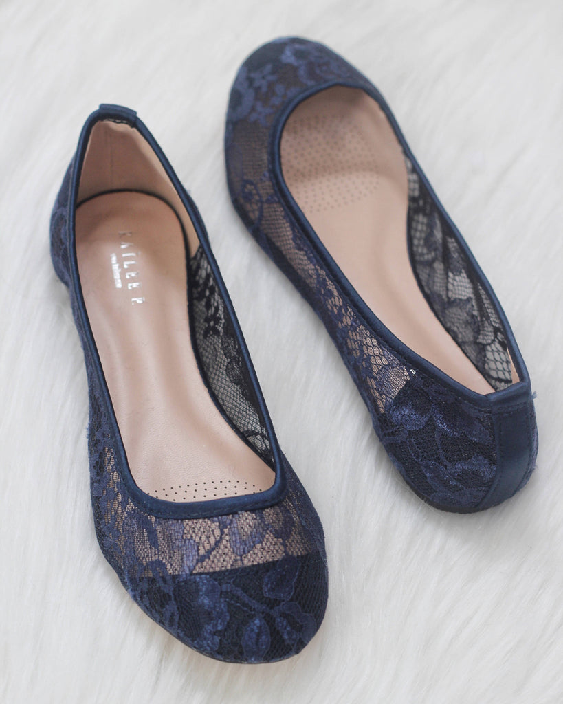 Women Navy Lace Wedding Shoes And Bridesmaids Shoes Something Blue