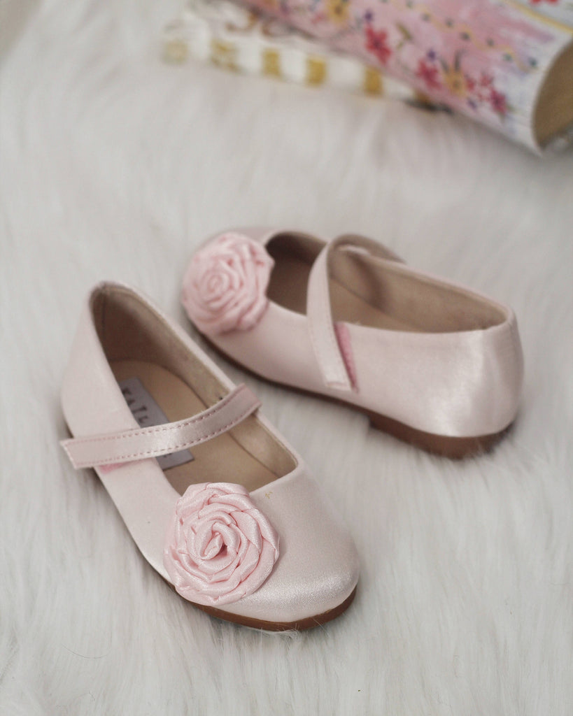8595c0fc05b ... Girls Infant shoes PINK Satin Maryjane Flats With Rosette