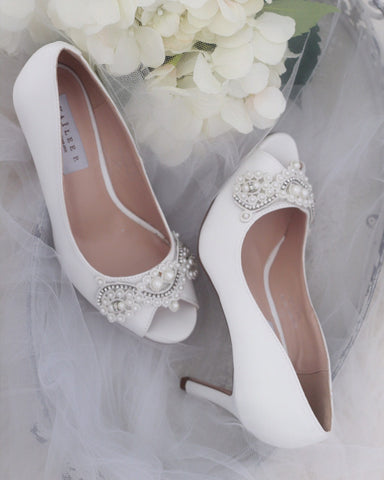 WHITE Satin Peep Toe Heel with Small Pearls Applique
