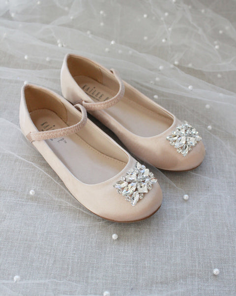 SATIN Mary Jane Flats with Rectangular Rhinestones Brooch