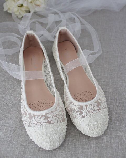 IVORY Crochet Lace BALLERINA Lace Up Flats