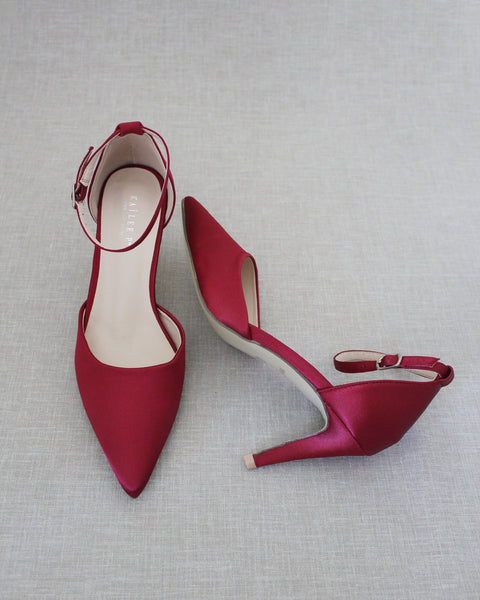 BURGUNDY Satin Pointy Toe HEELS with Ankle Strap