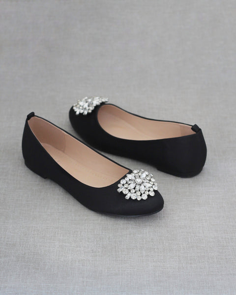 BLACK Satin Round Toe Slip on Flats with Oversized Brooch