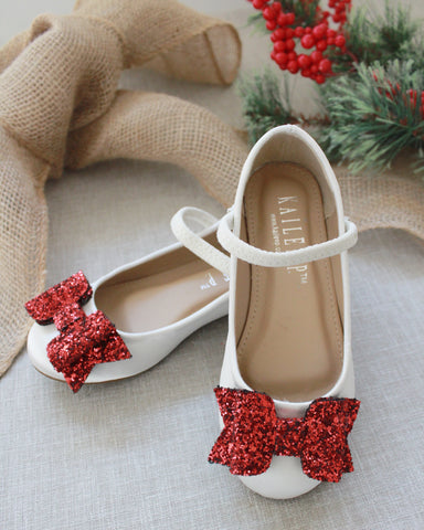 Girls shoes - WHITE Satin Maryjane Flats With Red Glitter Bow