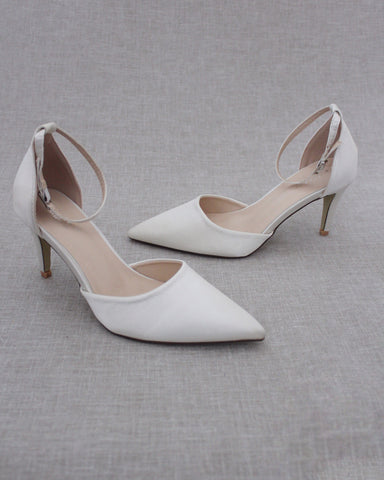 IVORY Satin Pointy Toe HEELS with Ankle Strap