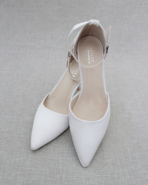 WHITE Satin Pointy Toe HEELS with Ankle Strap