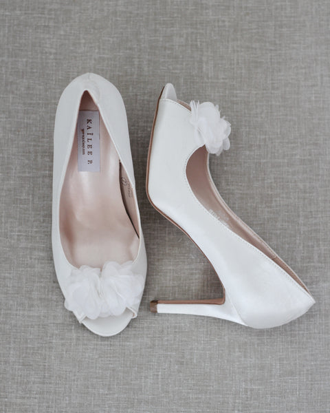 WHITE Satin Peep Toe Heel with Chiffon Flowers
