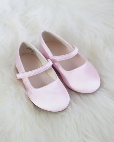 LIGHT PINK Satin Maryjane with Velcro