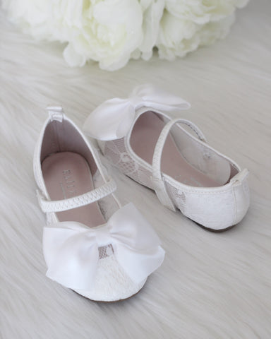 Girls Shoes - WHITE New Lace Flats With Satin Bow ,Kids Shoes- Kailee P