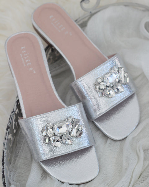Women SILVER METALLIC Slip on Sandals with Oversized Rhinestone Brooch