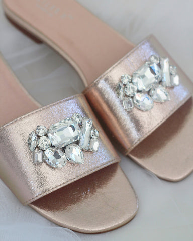 Women ROSE GOLD METALLIC Slip on Sandals with Oversized Rhinestone Brooch