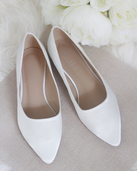 WHITE SATIN Pointy Toe Women Flats