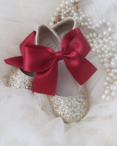 GOLD ROCK GLITTER Mary Jane Flats with BRICK RED Satin Bow