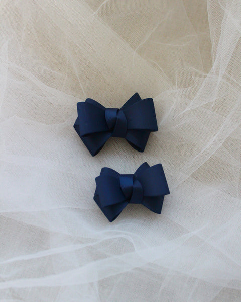 Navy Grosgrain Bow HAIR CLIP or SHOE CLIP