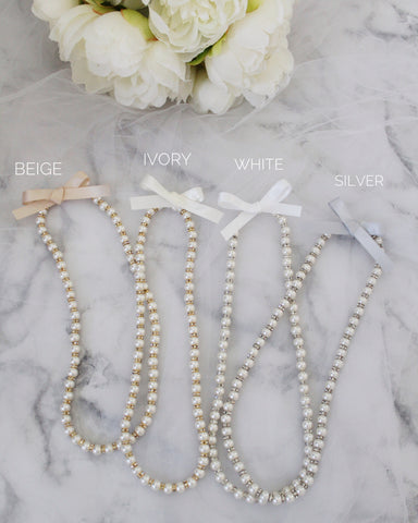 Pearls Necklace with Satin Bow