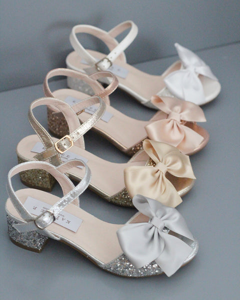 glitter heels with bow