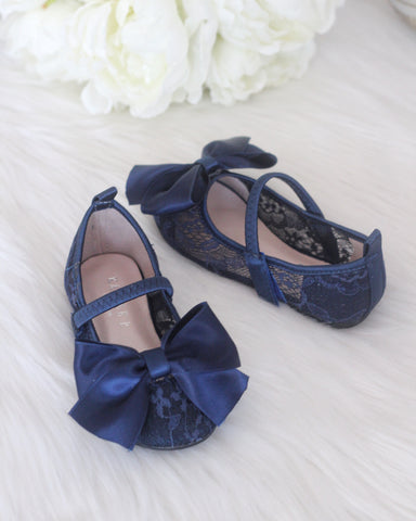 Girls Shoes - NAVY New Lace Flats With Satin Bow ,Kids Shoes- Kailee P