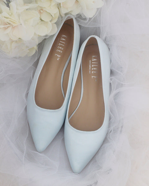 light blue pointy toe flats