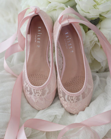 LIGHT PINK New Lace Ballerina Flats With Satin Ribbon Lace Up