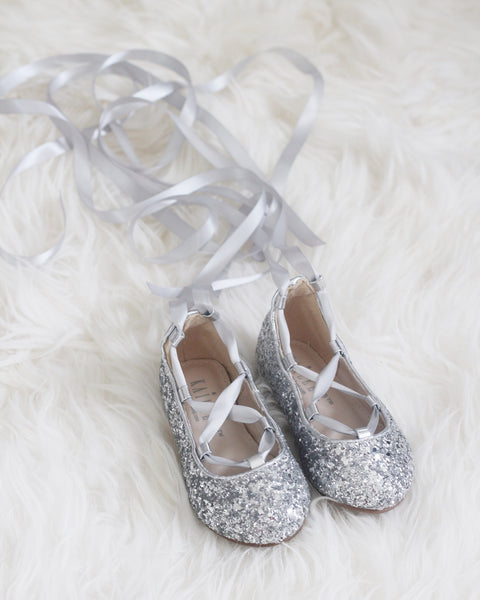 silver baby flats