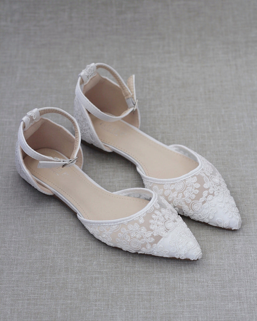 WHITE CROCHET LACE Pointy Toe Flats with Ankle Strap
