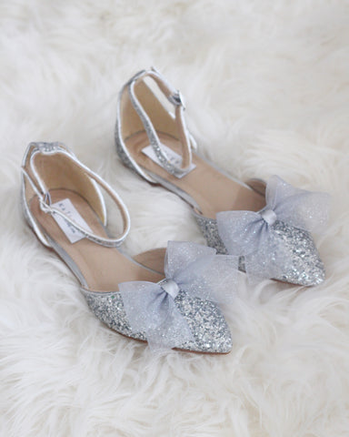 silver glitter shoes with bow